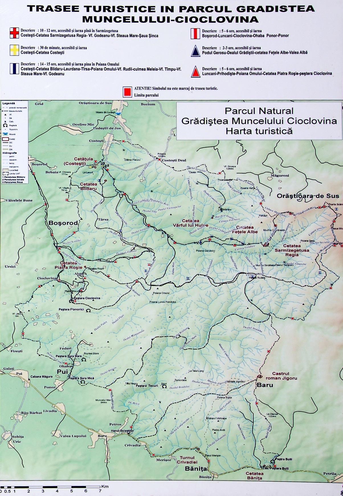 Harta Parcului Natura Gradistea Muncelului-Cioclovina
